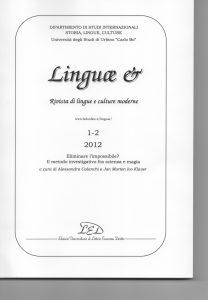 Copertina Linguae n 1-2 del 2012